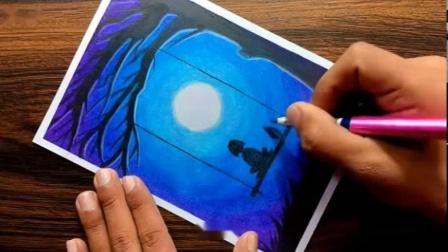 油画棒初学者的梦幻风景 - 一步一步简单画