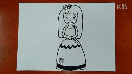 儿童画小女孩跟李老师学画画_201601220956