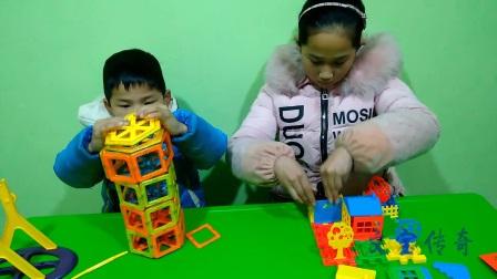 文宝和姐姐做手工玩具 亲子游戏 儿童玩具