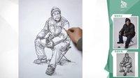 广东更高画室 艺考魔方美术视频   阮泽良老师速写坐姿示范