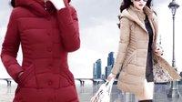 保暖棉衣女冬季中长款大码修身显瘦收腰加厚羽绒棉服棉袄外套