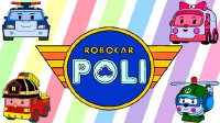 变形警车珀利 装扮珀利警车徽章 填充色彩