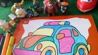 亲子游戏警察车涂色粉红小猪托马斯玩具总动员熊出没宝妈