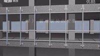 建筑幕墙系列动画之——框架玻璃幕墙安装动画