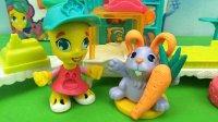 培乐多粘土 宠物店自动长耳朵的萝卜兔 亲子过家家游戏