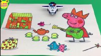 【小猪佩奇佩佩猪玩具】小猪佩奇弹吉他水彩画玩具 超级飞侠包警长围观