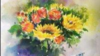 【暖熊绘画教程】水彩视频教程之向日葵绘画技法