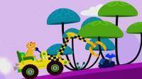 恐龙挖掘机爪子挖掘机装载车翻斗车工程车总动员恐龙岛探险寻 陌上千雨解说