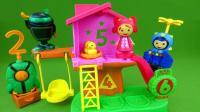 机器人携带升降梯降落到小木屋找大家一起玩