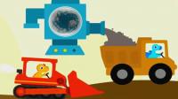 恐龙挖掘机3 超级英雄寻宝 推土机 装载车 翻斗车 工程车总动员 陌上千雨解说