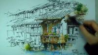 建筑手绘 钢笔手绘 马克笔上色 景观手绘 室内手绘 重庆手绘
