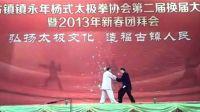 赵幼斌老师与赵亮在古镇体育馆演示推手基本动作
