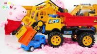大卡车玩具和小卡车玩具一起拉沙子