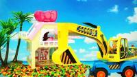 小企鹅Pororo开大型挖掘机帮凯蒂猫清理门前糖果儿童玩具故事