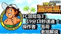 怀旧经典FC【冒险岛3】19分18秒速通! 【老旭解说】
