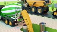 超级工程车: 推土机、卡车和混泥土搅拌车等工程车一起建造房子