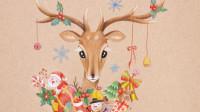 彩铅手绘插画 圣诞鹿