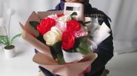 新韩式花束丝带11朵包装, 年底了不论是情人节还是生日都值得考虑的手工心动礼物