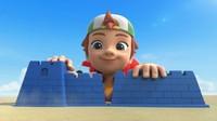 超级飞侠:乐迪和小男孩一起去沙滩堆沙堡