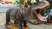 幼年仿真河马模型-儿童乐园动物机器人展品