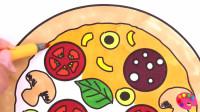宝宝学简笔画,教宝宝画一个漂亮的披萨