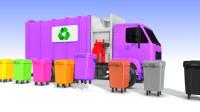 看垃圾清扫车倾倒不同颜色的垃圾桶,教宝宝认识颜色