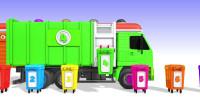 看垃圾清扫车倾倒不同颜色的垃圾桶,教宝宝认识颜色1