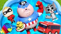 好搞笑!乔治竟然不敢游泳?小猪佩奇睡衣小英雄汪汪队趣味玩具故事
