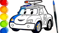 亲子手绘教学可爱的《变形警车珀利》玩具车着色绘画