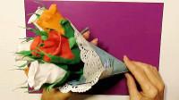 DIY玫瑰花束的方法,简单又漂亮,材料就是普通褶皱纸!