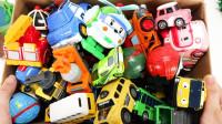 哇哦!吊车的车厢都乘载着哪些车车呢?变形警车珀利趣味玩具故事