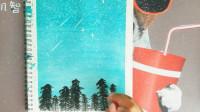 雪景怎么画?唯美松树雪景图的画法——小常姐姐简笔画