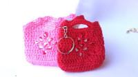 「时尚针织」可爱迷你的小篮子钥匙链
