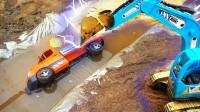 儿童玩具车:挖掘机挖土车 工程车 吊车运输车 ,救援掉入水里的运输车,儿童视频