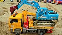 工程车 挖土车挖掘机 吊车起重机 运输车,拯救掉入水坑的玩具车,儿童玩具车视频