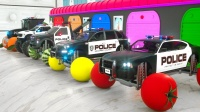 警用拖拉机安装了水果和蔬菜的轮子-学习儿童车的颜色