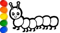 儿童早教益智视频:看视频学画画!怎么一笔画出一只彩色毛毛虫?