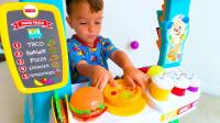儿童玩具故事:小正太的快餐店开业啦!香喷喷的汉堡多少钱一个?