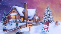 水彩圣诞雪景(上)