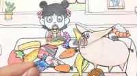 手绘定格动画:抓到一只太乙飞猪,它把哪吒的零食都踢掉了