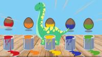 彩色油漆桶中有腕龙恐龙蛋等5种恐龙蛋