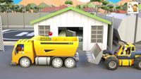 工程车动画视频:翻斗卡车和推土机挖河道建造钓鱼台