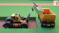 翻斗卡车搅拌车和迷你挖掘机建造火车站 挖掘机儿童动画片