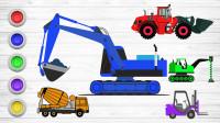 工程车涂颜色游戏 给挖掘机、钻土机涂上各种颜色