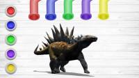 恐龙涂颜色游戏 给霸王龙、剑龙涂上各种颜色