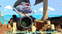 69-2小青蛙在水里戏水小猪在海里乘船冒险歌曲学习英语儿歌认识颜色启蒙童谣!