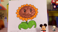 96 米老鼠带大家玩植物大战僵尸涂色玩具,美丽可爱的向日葵