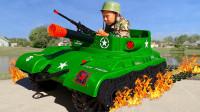超帅气!萌宝小正太竟然穿上迷彩服训练,还把挖掘机改装成坦克呢!儿童玩具故事游戏亲子益智