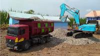 自卸卡车模型玩具运输建筑材料