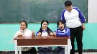 学霸王小九校园剧:把6根筷子拼成4个相等三角形,没想被女学霸一招解决!人才